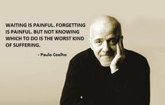 waiting is painful. forgetting is painful but not knowing what to do is the worst kind of suffering. paolo coelho