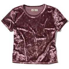 Hollister Velvet Baby T-Shirt (€12) ❤ liked on Polyvore featuring tops, t-shirts, shirts, blusa, purple, purple shirt, velvet tees, vintage style t shirts, velvet crop top and cropped shirts