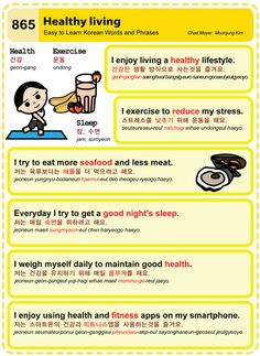 Easy to Learn Korean 865 - Healthy Living Chad Meyer and Moon-Jung Kim… Learn Basic Korean, How To Speak Korean, Korean Words Learning, Korean Language Learning, Learn Hangul, Korean Writing, Korean Phrases, Korean Alphabet, Korean Lessons