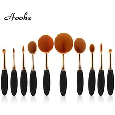 Aoohe 10 pcs/set Makeup Brush Set-Soft Oval Cosmetics Foundation Brush-Toothbrush Curve Makeup Brushes Set (black and gold) *** Read more at the image link. (This is an affiliate link) #MakeupBrushesTools