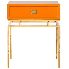 Worlds Away Cayson Orange and Brass Side Table