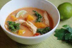 curried chicken + kale + butternut soup