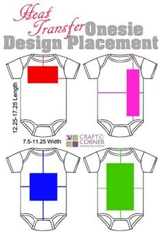 Heat transfer vinyl onesie design placement ideas.