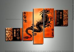 Orange Dragon Art Painting 235 - 58 x 38in
