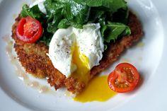 Brunch at La Tavola in Atlanta PORK MILANESE breaded pork scallopine, arugula-radish salad, poached eggs