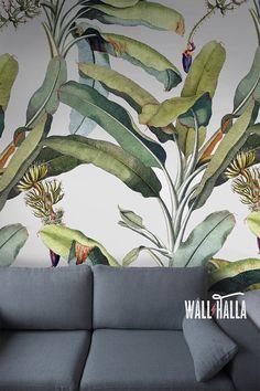 Auto adhesivo árbol hoja patrón Wallpaper - tatuajes de pared Vintage extraíble - plátano banano hojas de pegatinas - fondos de pantalla