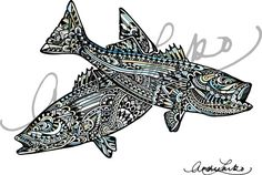 Bass Out of Water Watercolor Zentangle Print