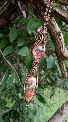 These stunning garden quartz and unakite crystals are wrapped snug in solid copper wire that has been antiqued and polished. Boho Necklace, Pendant Necklace, Raw Crystal Jewelry, Wire Wrapping Crystals, Phantom Quartz, Spiritual Jewelry, Chakra Stones, Copper Wire, Clear Quartz