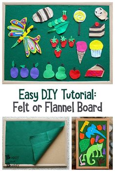 Easy DIY Felt Board or Flannel Board- Simple tutorial and great for use in preschool and early childhood classrooms for story retelling, story sequencing, and encouraging creativity. Early Learning Activities, Spring Activities, Activities For Kids, Indoor Activities, Toddler Sensory Bins, Toddler Play, Toddler Learning, Sensory Play, Felt Books
