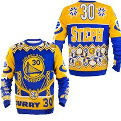 Golden State Warriors Steph Curry Official NBA Ugly Sweater - Celebrate your Golden State Warriors  fandom in a fun way with this Busy Block ugly sweater. Arrive to all your holiday gatherings in style when you rock this ugly sweater.