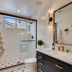 Single Bathroom Vanity, Bathroom No Window, Boy Bathroom, Shiplap Wall In Bathroom, Fully Tiled Bathroom, Bathroom Wall Colors, 1920s Bathroom, Warm Bathroom, Bathroom Vanity Makeover