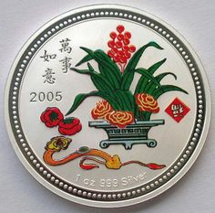 Niue-2005-Luck-Cymbidium-Dollar-1oz-Colour-Silver-Coin-Proof