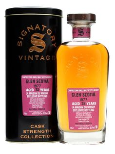 Glen Scotia 1977 / 35 Year Old / Cask #2750 : Buy Online - The Whisky Exchange - A 1977 vintage Glen Scotia bottled by Signatory for French whisky retailer La Maison du Whisky. We've managed to grab a few bottles of this distinctively purple labelled bottle, which was distilled...