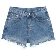 High Waist Denim Shorts In Loose Fit (90 RON) ❤ liked on Polyvore featuring shorts, bottoms, stylemoi, blue, highwaisted shorts, short jean shorts, loose jean shorts, blue shorts and high rise jean shorts
