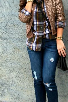 Today on Glitter and Gingham : a flannel & some sequins