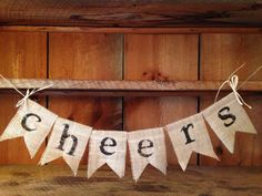 "Burlap Cheers Bunting Cheers Garland Party by ThirtySixDesign, $22.00  Customized to say ""Owen"" or Happy Birthday vs. Cheers"