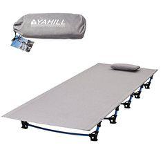 Yahill® Ultralight Campingbett Feldbett (180*58*10cm or 190.5*70*17cm), Oder Zelt Bett Ersatz Aluminiumlegierung für Indoor Outdoor Camping Wandern Angeln (Extended Vision/Grey)