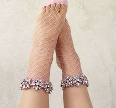 [leggycozy] Harajuku Colorful Glitter Five-pointed Star Rhinestone Fishnet Socks Colors Fishnet Socks, Sexy Socks, Lace Socks, Socks And Heels, Cool Socks, Ankle Socks, Pink Socks, Moda Outfits, Fashion Socks