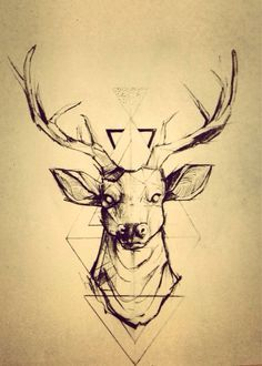 Geometric tattoos look pretty rad, want a deer tattoo so this tangles the two and looks pretty sweet! Future Tattoos, New Tattoos, Tatoos, Hirsch Tattoos, Cervo Tattoo, Geometric Deer, Geometric Lines, Geometric Designs, Geometric Background