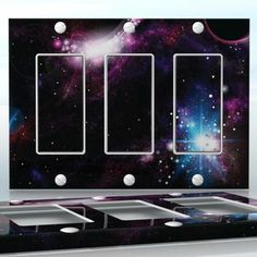 DIY Do It Yourself Home Decor - Easy to apply wall plate wraps | Dark Galaxy  Planets and flashing stars in an other galaxy  wallplate skin sticker for 3 Gang Decora LightSwitch | On SALE now only $5.95