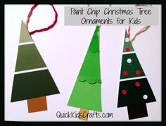 Paint Chip Christmas Trees Craft for Kids – 25 Days of Quick Kids' Christmas Ornaments Kids Christmas Ornaments, Christmas Crafts For Kids, Homemade Christmas, Christmas Trees, Christmas Cards, Christmas Activities, Kid Activities, Childrens Ministry Christmas, School Christmas Party