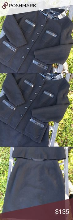Teri Jon Wool & Patent Leather Black Skirt Suit Rickie Freeman Teri Jon black wool blazer and skirt with patent leather band collar and trim. Size 14. In excellent used condition. Teri Jon Jackets & Coats Blazers