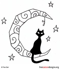 Black cat and moon tattoo design (really basic, but this theme)