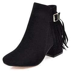 4e053692b9de IDIFU Womens Fashion Fringe Faux Suede Zip Up Mid Chunky Heel Buckle Ankle  Boots Black 105 BMUS    Click for Special Deals