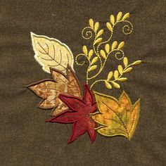 - Leaves - Threads of Time Embroidery Diy Embroidery Patterns, Embroidery Boutique, Cutwork Embroidery, Hand Embroidery Flowers, Flower Embroidery Designs, Hand Embroidery Stitches, Machine Embroidery Designs, Embroidery Suits, Wool Quilts