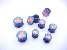 Acrylic Superman Ear Plug Flesh Tunnels Earlets Screw Gauges