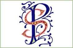 "PS SP 2 Machine Embroidery 2 Letter Monogram 4""X4"" 