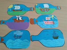 Juf Shanna: Schip in een fles I.pv de kinderen laten tekenen ze er piraten dingen in laten plakken