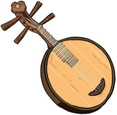 YUEQUIN The yueqin or yue qin (Chinese: 月琴, p yuèqín), formerly romanized as yüeh-ch'in and also known as the moon guitar, moon zither, gekkin, laqin, or la-ch'in, is a traditional Chinese string instrument. It is a lute with a round, hollow wooden body which gives it the nickname moon guitar. It has a short fretted neck and four strings tuned in courses of two (each pair of strings is tuned to a single pitch), generally tuned to the interval of a perfect fifth. Occasionally, the body of the…
