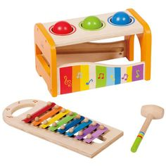 Early Melodies Pound and Tap Bench... This feels very Montessori and combines a couple of solid development ideas in the same toy.