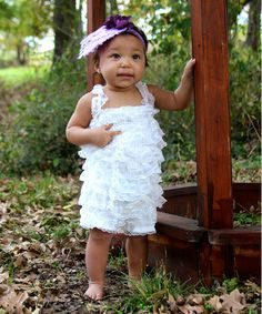 Loving this White Lace Ruffle Romper - Infant & Toddler on #zulily! #zulilyfinds