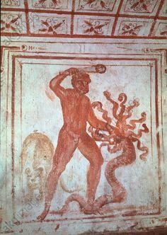 HERCULES KILLS HYDRA / MURAL. Rome – Roma (Italy), Catacombs – Catacombe di via Latina, Catacomba di Via Dino Compagni (discovered 1955).  Hercules kills Hydra.  Early Christian, c. 320/350. Fresco, 85 × 95 cm.