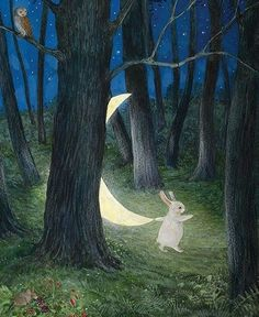 Illustration Moon When the Moon Came Down Feridun Oral, 2014 Art And Illustration, Rabbit Illustration, Lapin Art, Rabbit Art, Bunny Art, Moon Art, Whimsical Art, Wicca, Art Inspo