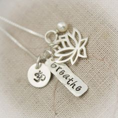 Yoga, Namaste or Breathe Hand Stamped Ohm Lotus Flower Necklace with Pearl in Sterling Silver