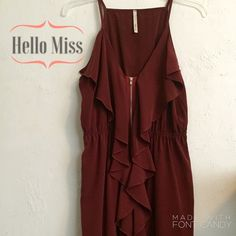 """Hello Miss Dress Very good condition burnt orange dress. Cascading ruffles adorn the front of this beauty. I am 5'9"""" and this dress hit me mid to upper thigh. Hello miss Dresses"""