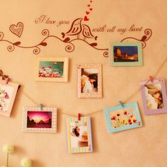 8pcs Porta retrato 6 '' Creative Home Decor DIY Wall Paper Photo Frame Wall Picture Album + Hanging Rope +Wooden Clip
