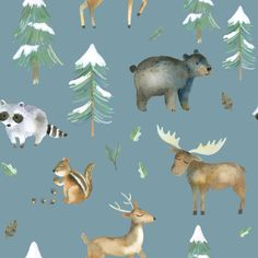 Woodland Snow Fabric by the Yard. Lovey Blanket, Crib Blanket, Baby Boy Blankets, Moose Nursery, Nursery Boy, Faux Fur Blanket, Woodland Animals, Blue Fabric, Spoonflower