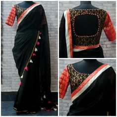Custom Made Saree Comes with Stitched Blouse and Inskirt New Blouse Designs, Saree Blouse Neck Designs, Dress Neck Designs, Bridal Blouse Designs, Trendy Sarees, Stylish Sarees, Simple Sarees, Designer Blouse Patterns, Beautiful Blouses