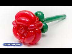 como hacer rosas con globos largos - globoflexia rosa - como hacer rosa con globos - YouTube