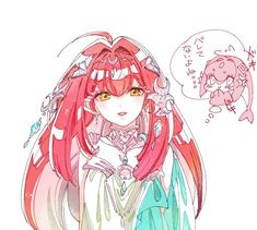1girl blush chibi dress fins fish_girl hair_ornament humanization jewelry long_hair looking_at_viewer mipha monster_girl multicolored multicolored_skin red_skin solo the_legend_of_zelda the_legend_of_zelda:_breath_of_the_wild translation_request white_background yellow_eyes zora