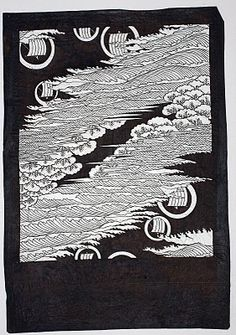 Ise-Katagami - A Personal Collection: Katagami with Waves and Sails
