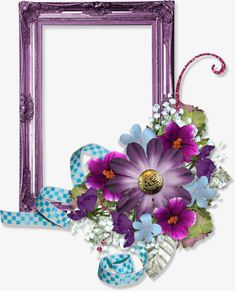 Purple flowers purple blue ribbon border PNG and Clipart
