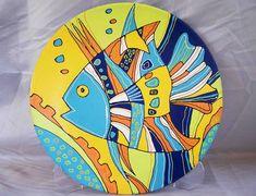 Placa de pared decorativo - cerámica pintada a mano con pinturas acrílicas
