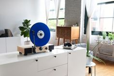 """Floating Record, a high-performance vertical turntable with full-range stereo speakers by Gramovox. This turntable called """"Floating Record"""" has been Audio Design, Record Players, Built In Speakers, Stereo Speakers, Floating, Retro, Space Saving, Vinyl Records, Home Appliances"""
