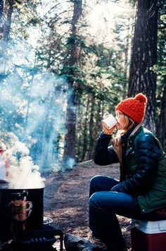 Hot coffee on a chilly fall morning while camping