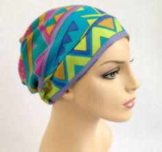 Summer Green Turban Hat, Chemo Hat, Sleep Hat, Alopecia Cap, Slouch Hat, Boho, Gypsy